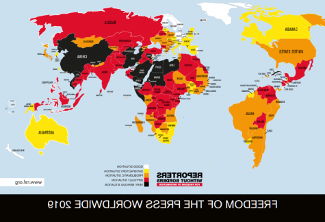 This map shows the different levels of freedoms experienced by the press around the world. Reporters With Borders gathered the information from question sheets submitted 通过 media professionals.